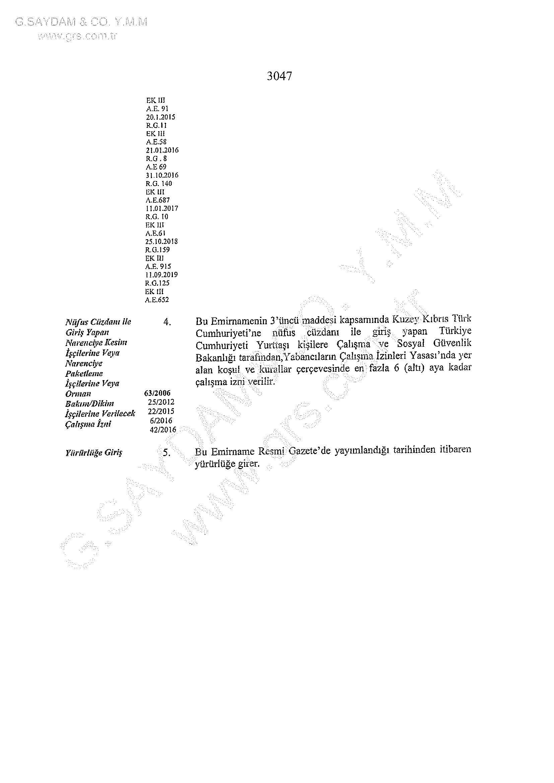 Yabancılar ve Muhaceret Yasası 01012021