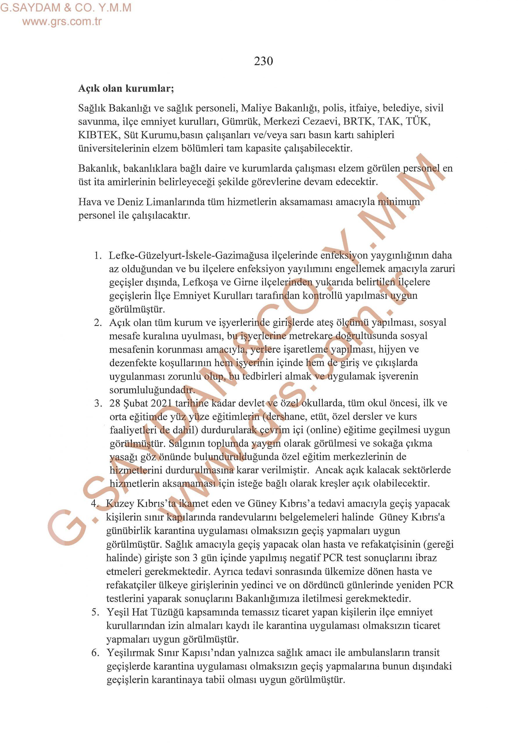 Açık ve Kapalı Olan İş Yerleri İle Uyulması Gereken Kurallar 20022021