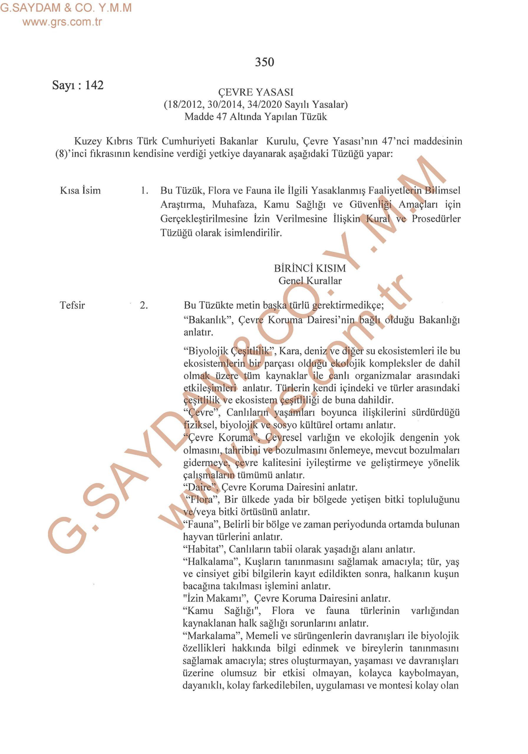 Çevre Yasası (Madde 47 Altında Yapılan Tüzük)